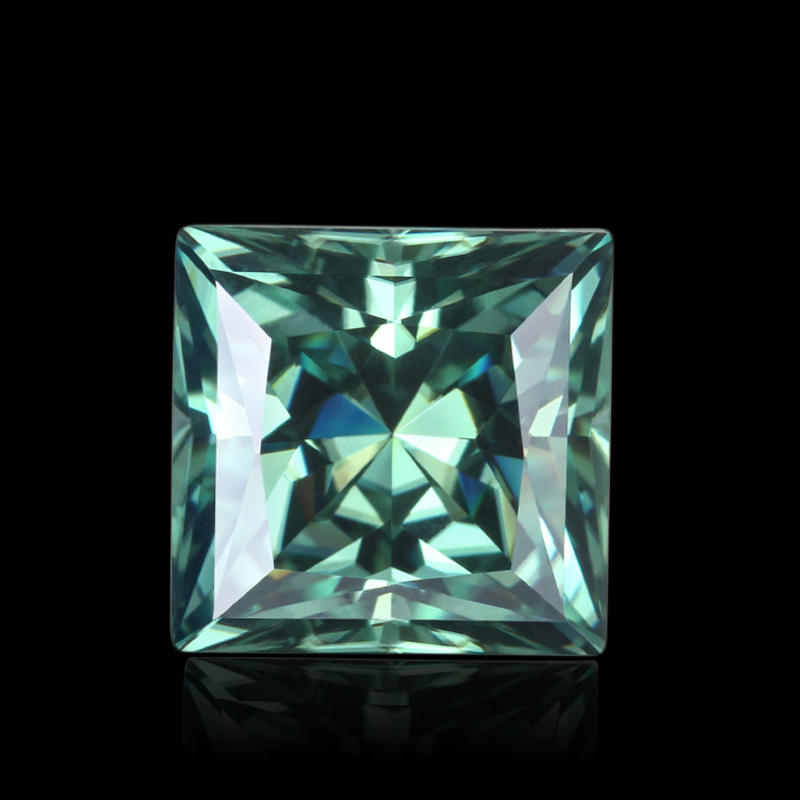 Factory Price Square Shape Green Moissanite Stone